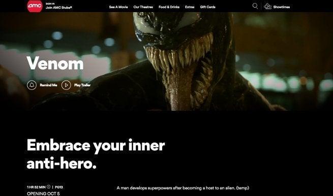 Classificação do filme Venom AMC Theatres