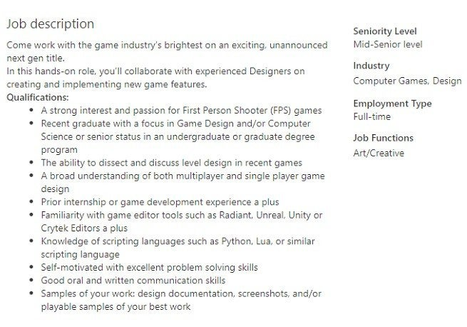 Call of Duty Infinity Ward Job Post