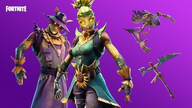 fortnite players are using scarecrow skins and t pose emote for the