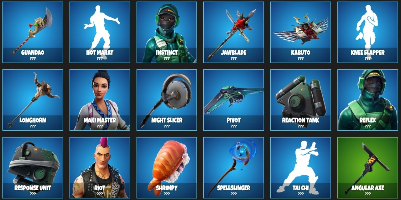 the latest shop items revealed definitely have an eclectic feel whether you re wanting to harness your inner rockstar with the riot skin or get your sushi - what is the item shop right now in fortnite
