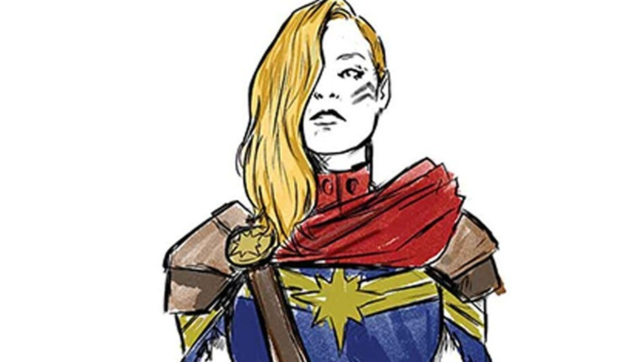 Captain Marvel Getting Temporary New Costume Long sleeve printed red, gold and blue stretch jumpsuit; captain marvel getting temporary new