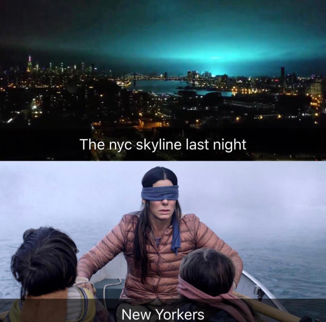 bird box blue light nyc meme