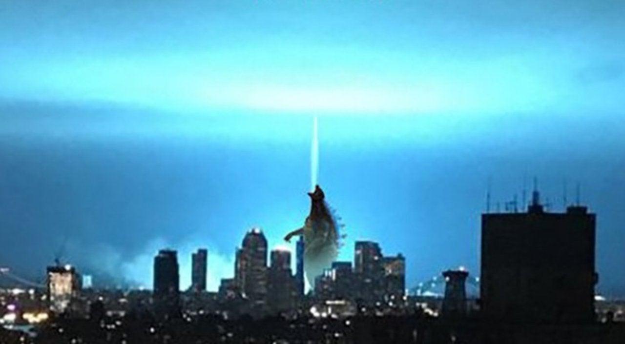 godzilla fan art shows the kaiju responsible for new york s blue light