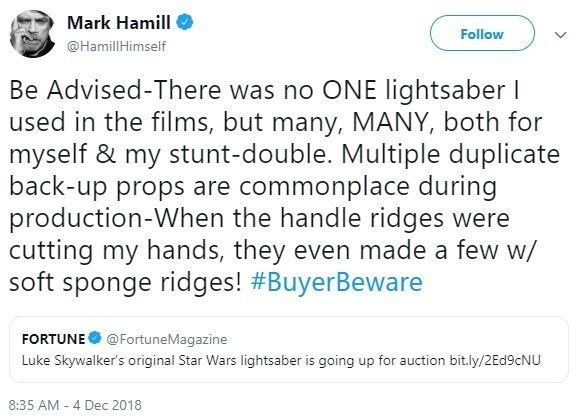 luke skywalker mark hamill lightsaber
