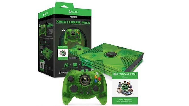 """Xbox """"title ="""" Xbox """"height ="""" 375 """"width ="""" 665 """"class ="""" 40 """"data -item = """"1151641"""" /> </figure> <p> The online retailer has started offering Hyperkin's Xbox Classic Pack, which offers a dose of old-school goodness while keeping up with the modern theme of the Xbox One and Xbox One X. </p> <p> for $ 80.98, the package includes a Hyperkin Duke Xbox One controller with a see-through green build, similar to the special edition Xbox peripheral from the <i> Halo </i> days. to your system, along with a one-month subscription to the Xbox Game service so you can enjoy a free month of games on the house before the $ 9.99 membership price kicks in. </p> <p> This is a pretty good package deal, all of which are included, and the skin apples to both the Xbox One S and the Xbox One X model systems so it's perfect for those of you having one of Hyperkin introduced the line of """"Duke"""" Xbox One controllers a while back, keeping its old-school Xbox design while implementing a sweet little touch button in the center that features the Xbox startup screen. It's a wired peripheral, but its cable is enough for you to enjoy your games without having to sit too close to the television. </p><div><script async src="""