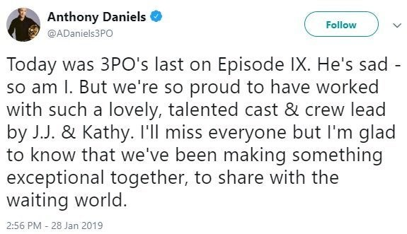 anthony daniels star wars episode ix tweet goodbye