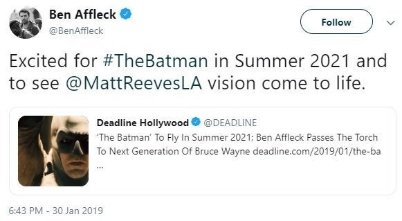 Ben Affleck tweets about his exit from DCEU