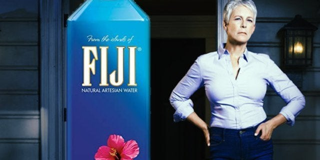 fiji water bottle jamie lee curtis halloween golden globes