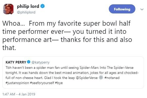 katy perry spider-man into the spider-verse phil lord