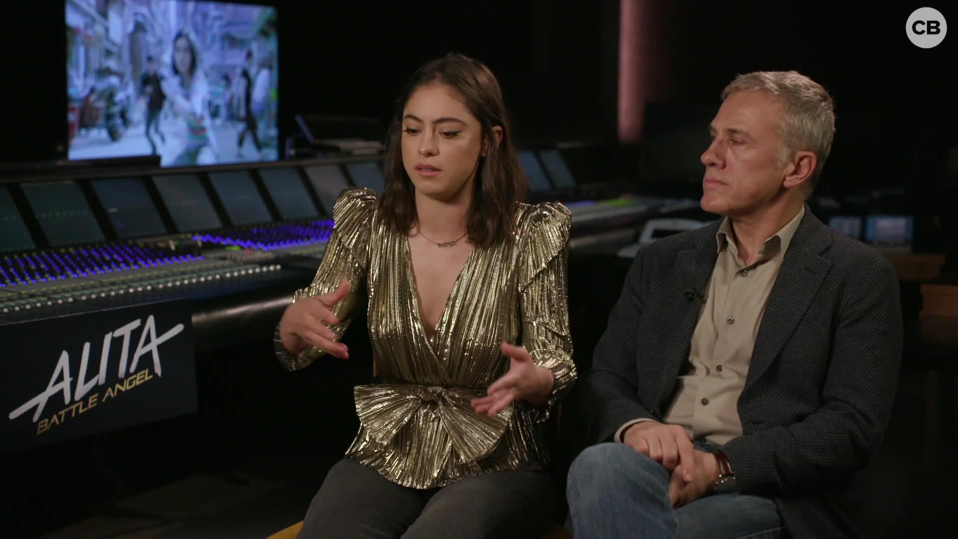 Rosa Salazar and Christoph Waltz Talk 'Alita: Battle Angel' screen capture