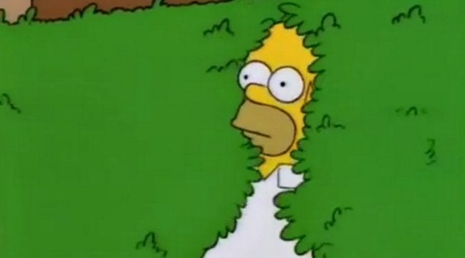 The Simpons Opening Credits Homer Backs Into Bushes gif