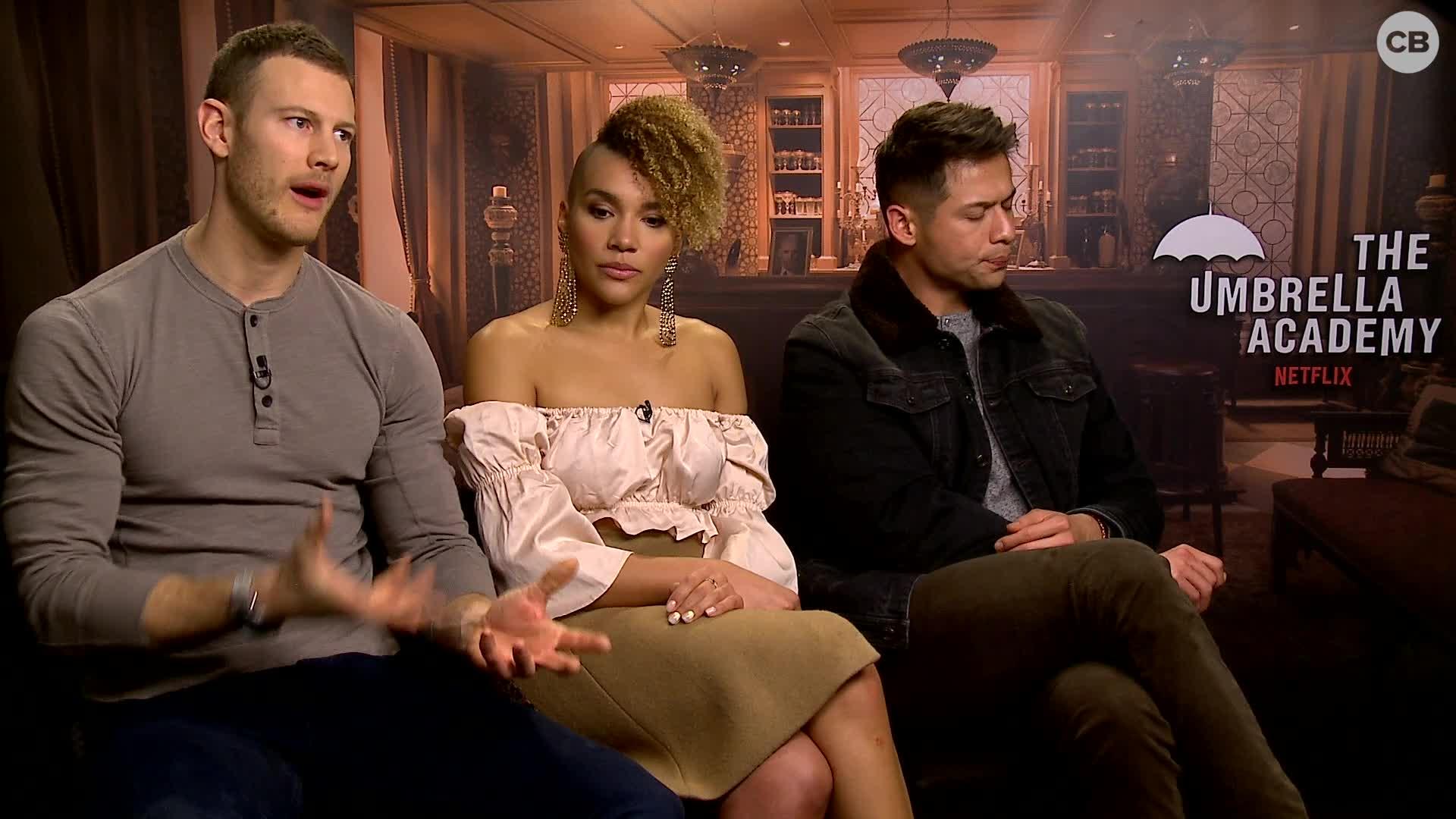 Tom Hopper, Emmy Raver-Lampman, and David Castaneda Talk 'The Umbrella Academy' screen capture