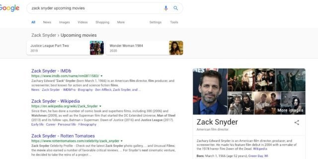Google Thinks Zack Snyder Directing Justice League 2