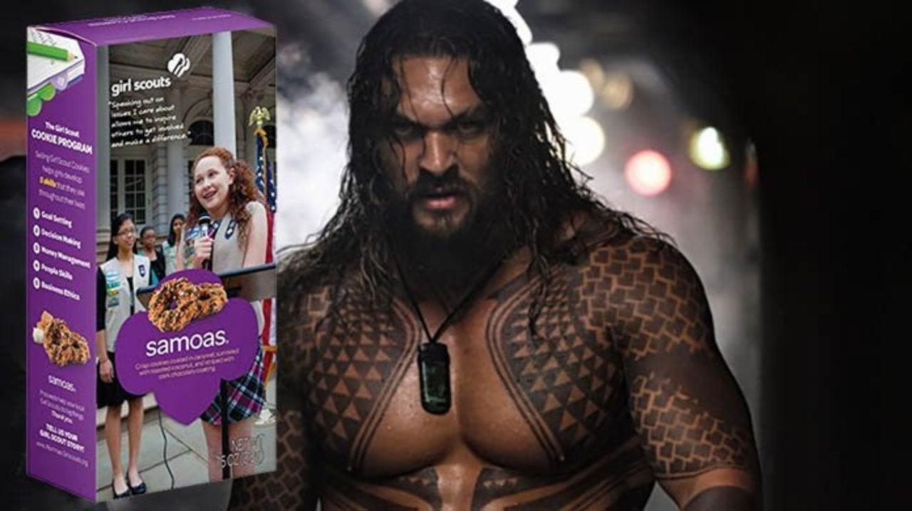 Girl Scout Uses Jason Momoa To Sell Cookies
