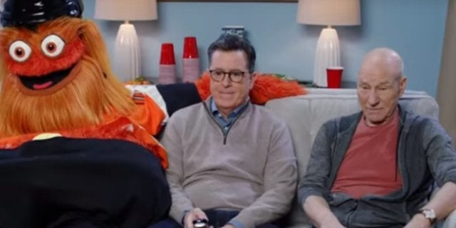 The Late Show Super Bowl Colbert Stewart Gritty