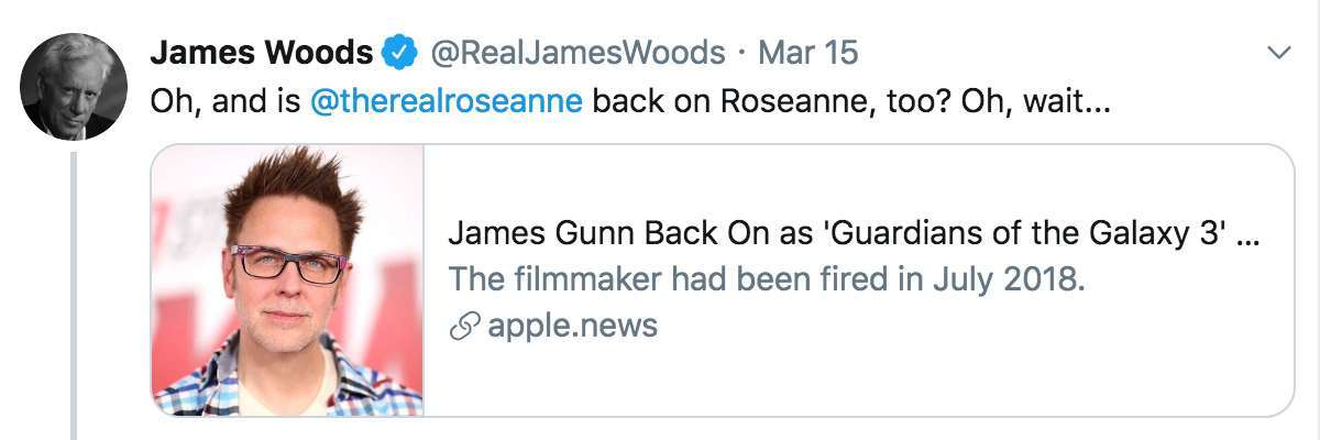 James Woods Takes Shot at Disney Over James Gunn Rehiring for 'Guardians of the Galaxy Vol. 3'