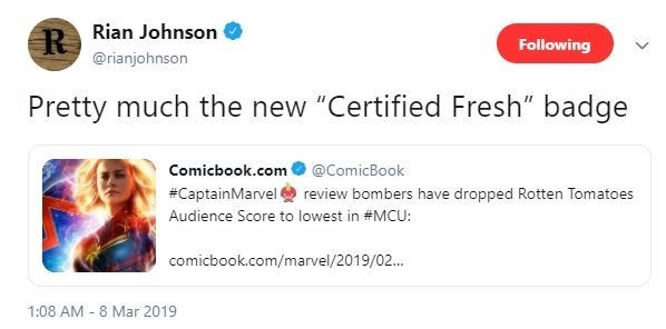 rian johnson captain marvel the last jedi rotten tomatoes