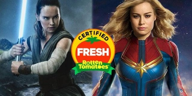 star wars the last jedi rey captain marvel rotten tomatoes
