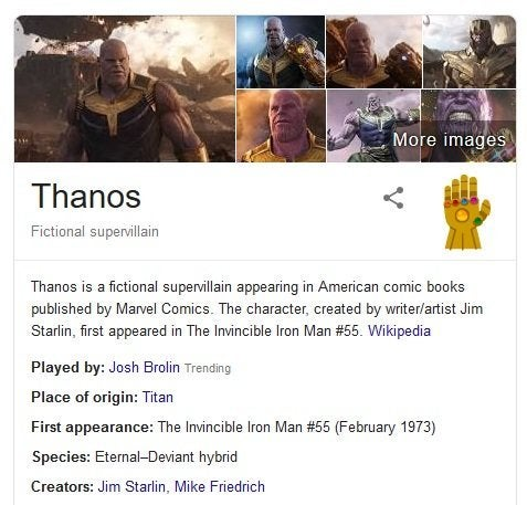 Avengers: Endgame - Thanos Will Snap Your Search Results in Half