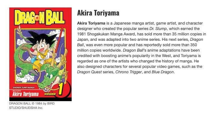 Dragon Ball Akira Toriyama Eisner Award Nomination 2019