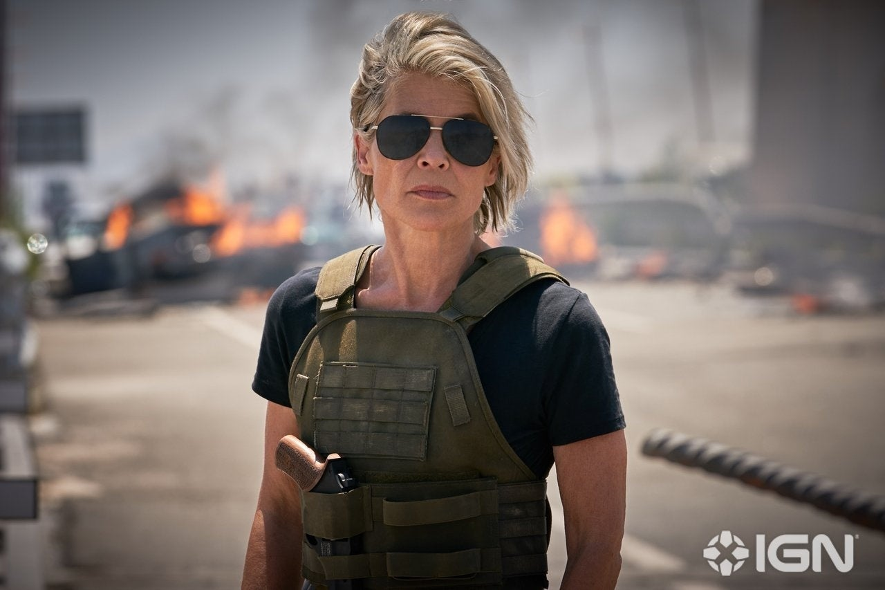 Linda Hamilton in a still from Terminator: Dark Fate