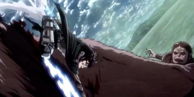 Attack on Titan 54 Levi vs Beast Titan Fight Scene