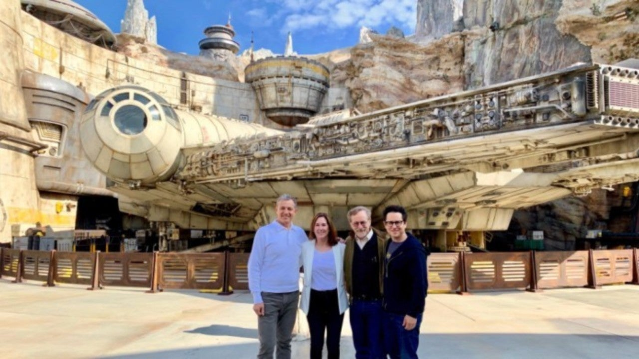 Disney CEO Tours Star Wars: Galaxy's Edge with Lucasfilm's Kathleen Kennedy and Directors Steven Spielberg and J.J. Abrams