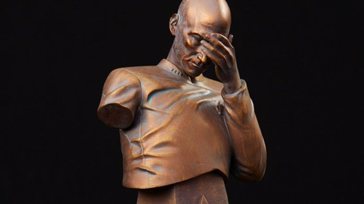 Star Trek TNG Captain Picard Facepalm Bust Now in Classy Bronze