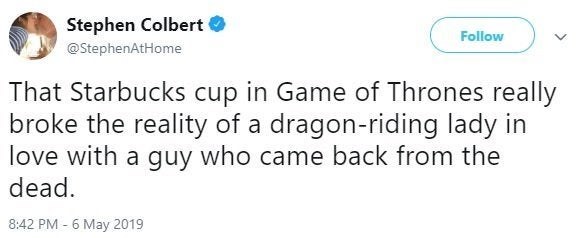 stephen colbert game of thrones coffee cup