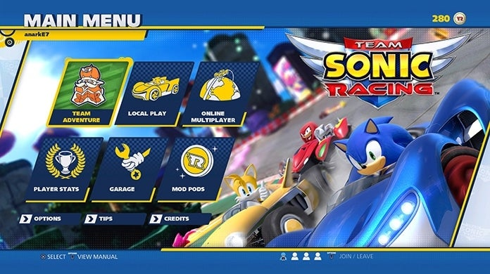 Team Sonic Racing Menu