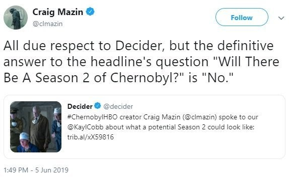 chernobyl second season tv series craig mazin