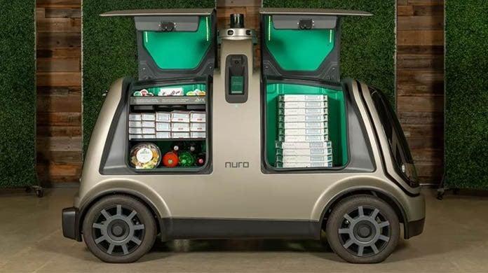 dominos robot car delivery