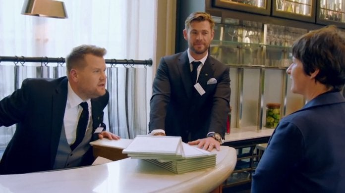 james corden chris hemsworth waiters late late show