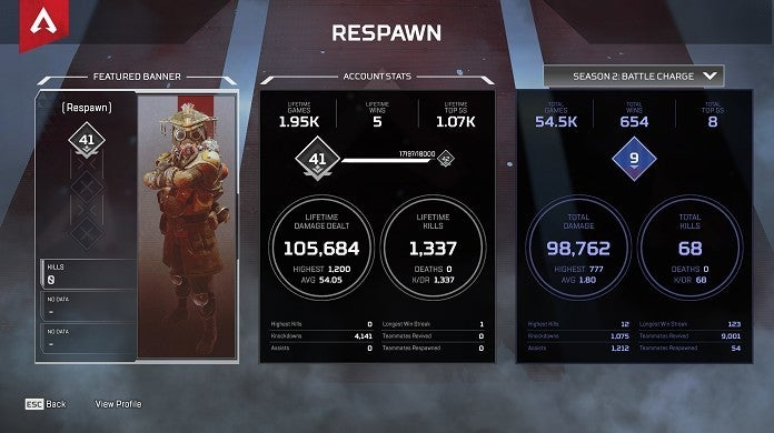 Estadísticas de Apex Legends