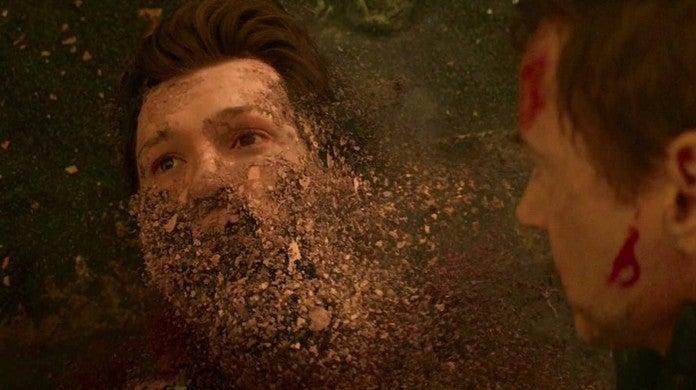 avengers infinity war spider-man dust