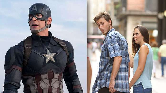 captain america distracted boyfriend