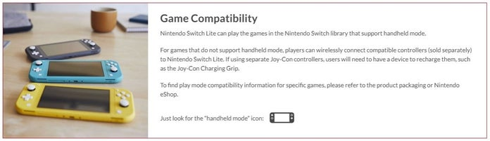 Nintendo Switch Lite Game Compatability