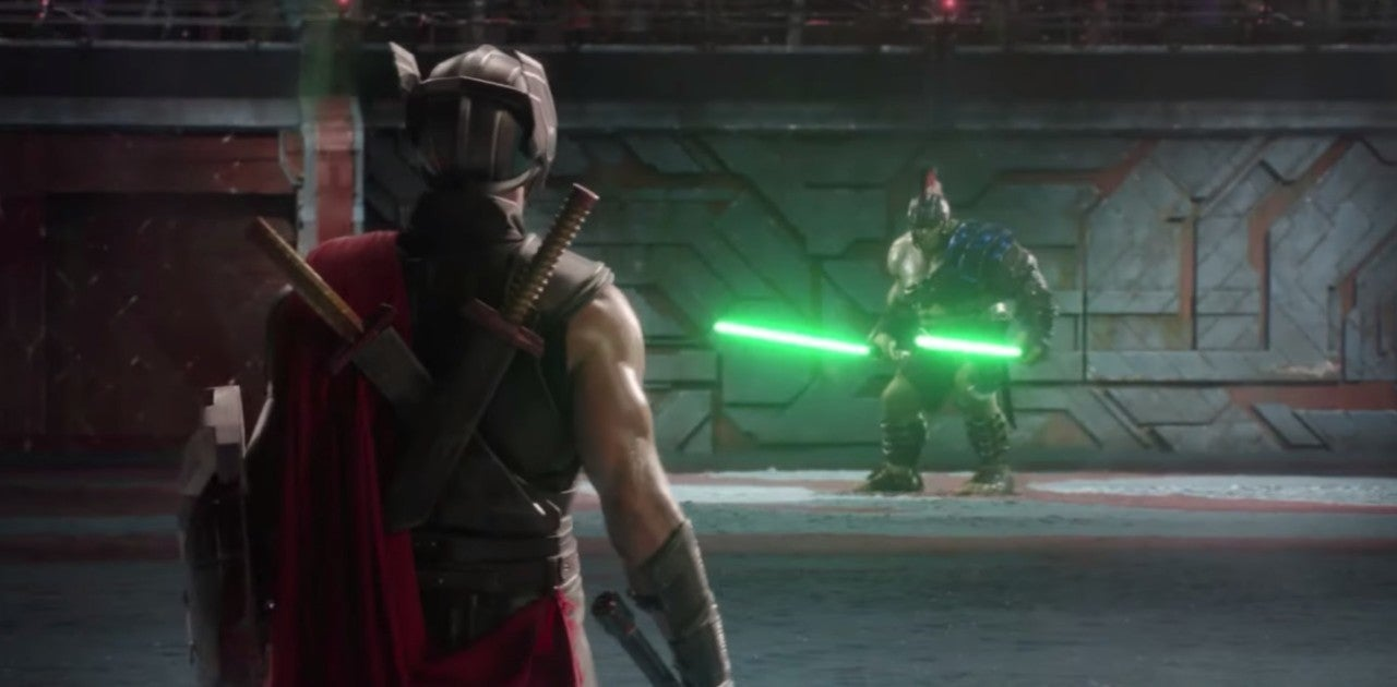 Hulk Vs Thor Fight Scene From Ragnarok Is Even Better With Lightsabers