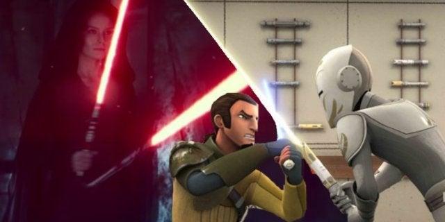 Star Wars 9 Rise Skywalker Rey Double Bladed red Lightsaber Rebels Kanan vs Sentinel Fight Scene