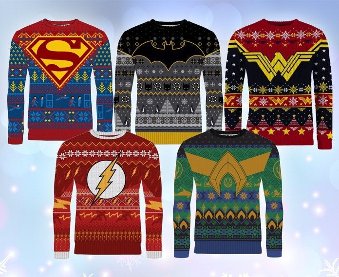 Ugly Christmas Sweaters 2019.Dc Comics Ugly Christmas Sweaters For 2019 Include Batman