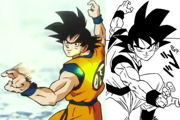 Dragon Ball Super Chapter 52 Goku vs Merus Fight Pose Broly Easter egg