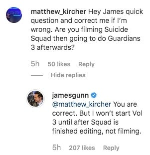 guardians 3 production start instagram comment