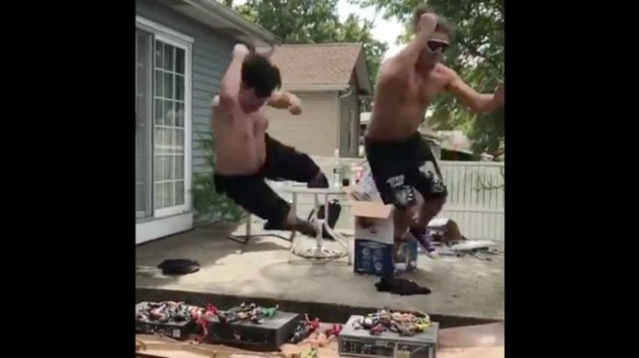 Watch Aew S Joey Janela And Super Humman Jump Through Table With Action Figures And Vcrs Exceeding normal human power, size, or capability : aew s joey janela and super humman jump