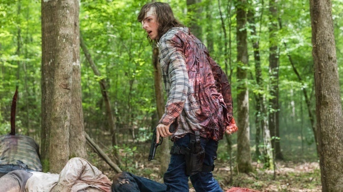 The Walking Dead Chandler Riggs Carl bite