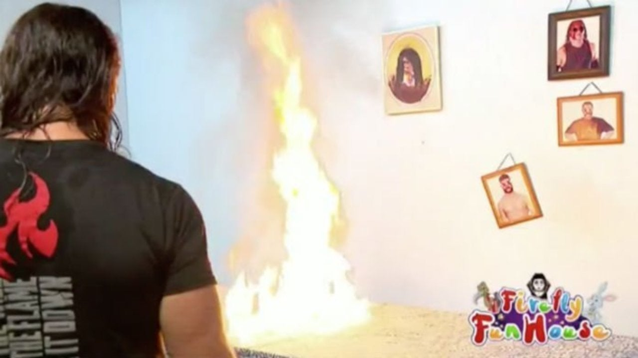 Watch: Seth Rollins Burns Down the Firefly Fun House Set