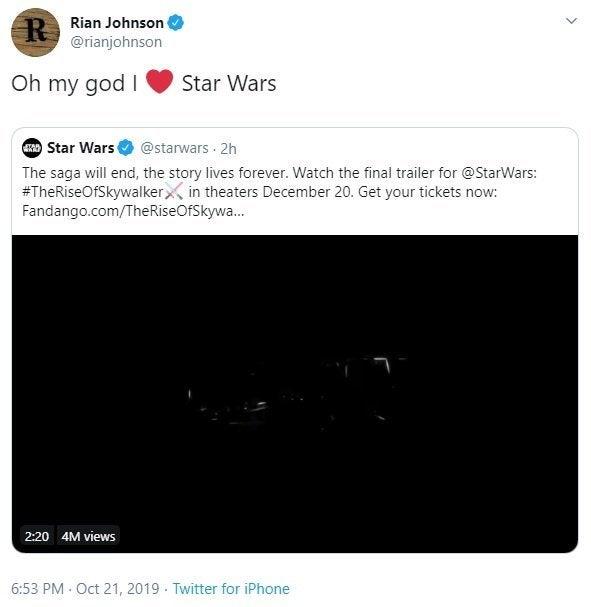star wars the rise of skywalker rian johnson reaction