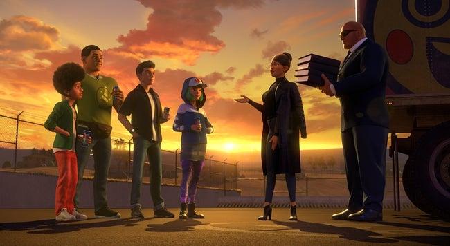 4 Spy Racers com Ms Nowhere e Gary