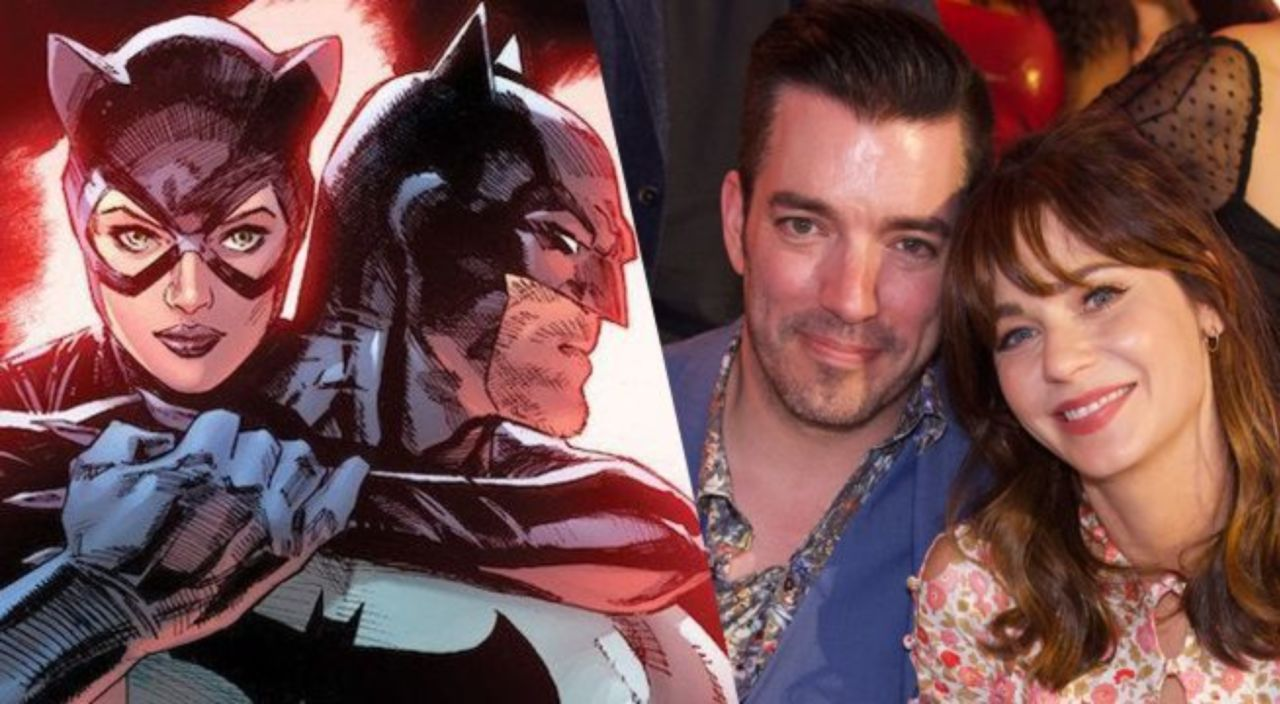 Zooey Deschanel And Jonathan Scott Reveal Armored Batman And Catwoman Halloween Costumes