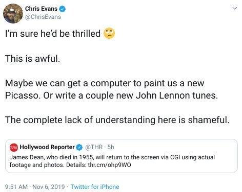 chris evans james dean movie twitter