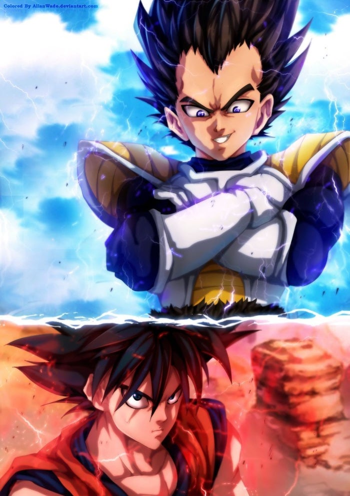 Dragon Ball Vegeta and Goku Artwork by Murata (colors by Allan Wade)